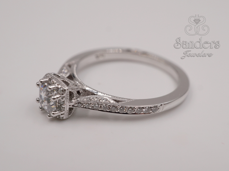 Bridal Jewelry - Petite Diamond Halo Engagement Ring - image 2