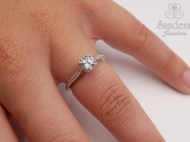 Bridal Jewelry - Petite Diamond Halo Engagement Ring - image #3