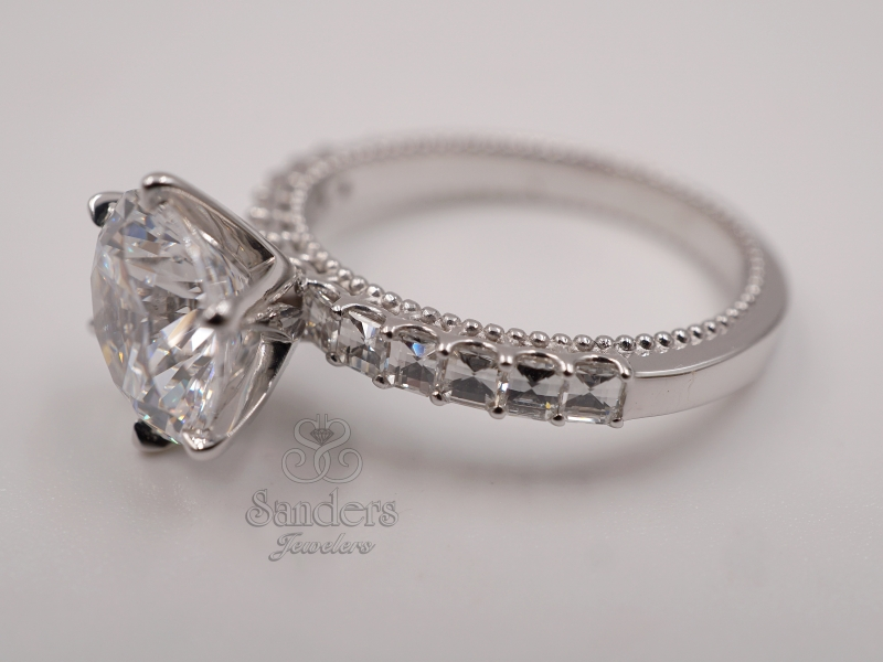 "Bridal Jewelry - Unique ""Chessboard"" Diamond Solitaire Engagement Ring - image #2"