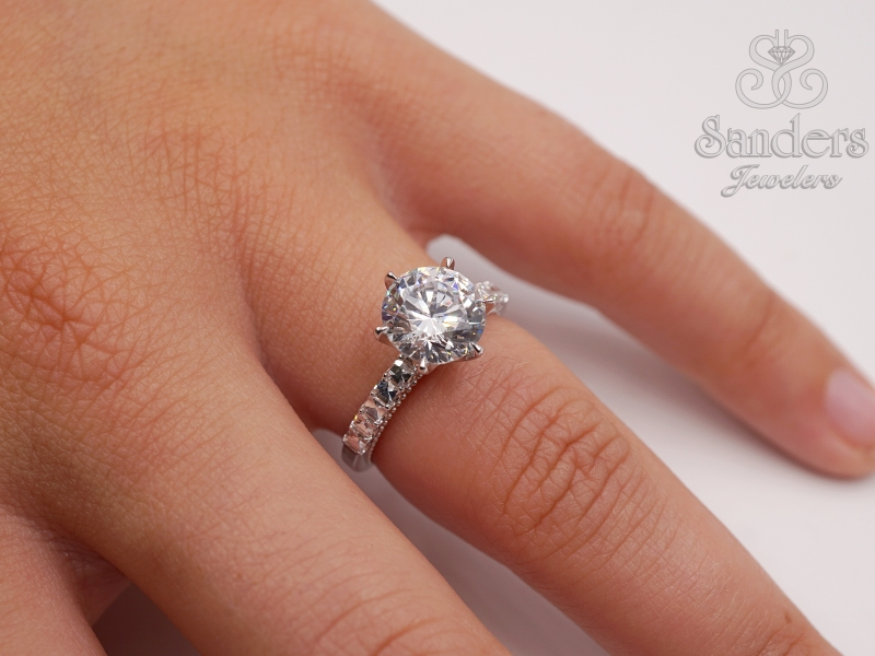 "Bridal Jewelry - Unique ""Chessboard"" Diamond Solitaire Engagement Ring - image #3"