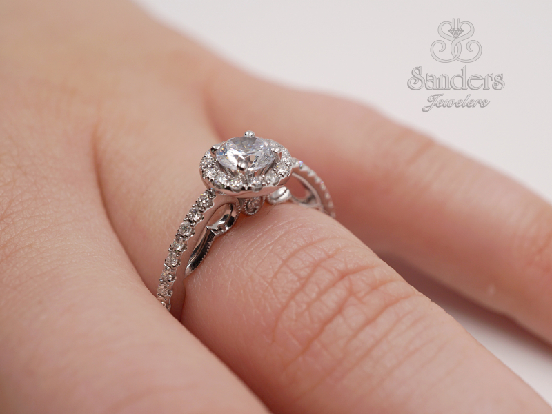 Bridal Jewelry - Round Halo Diamond Engagement Ring - image #4