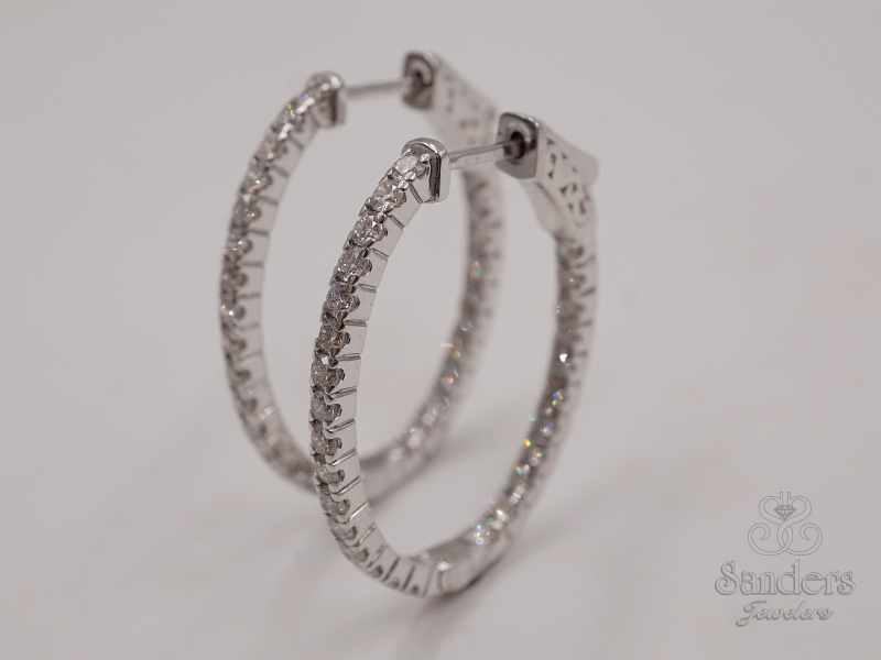 Earrings - Inside-Out Diamond Hoops - image #2
