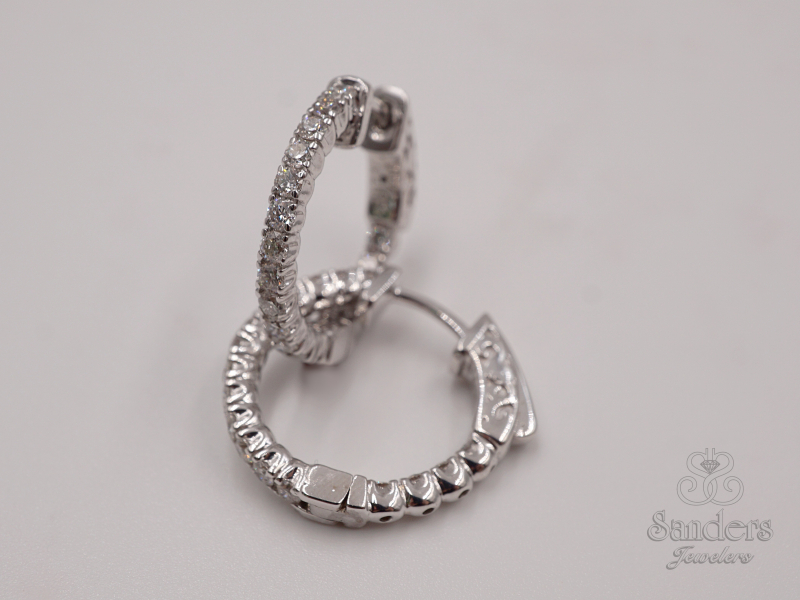 Earrings - Inside-Out Diamond Hoops - image #3