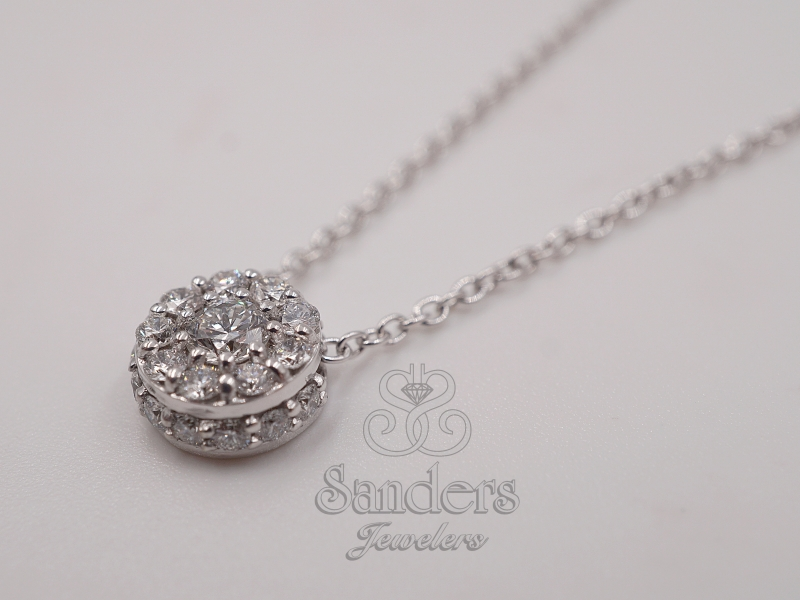 Pendants & Necklaces - Nickel Free Diamond Cluster Necklace - image #2