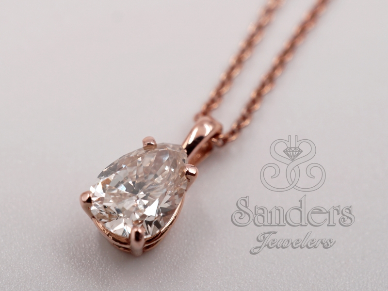 Pendants & Necklaces - Teardrop Diamond Solitaire Pendant - image #2