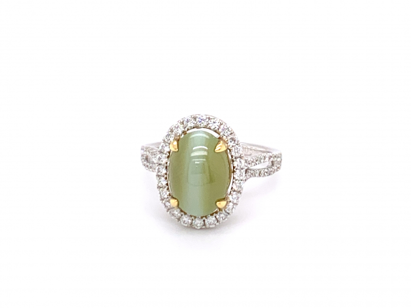 Rings - Cat's Eye Chrysoberyl and Diamond Ring