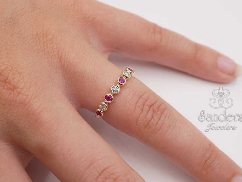 Rings - Ruby and Diamond Stacker Band - image #2