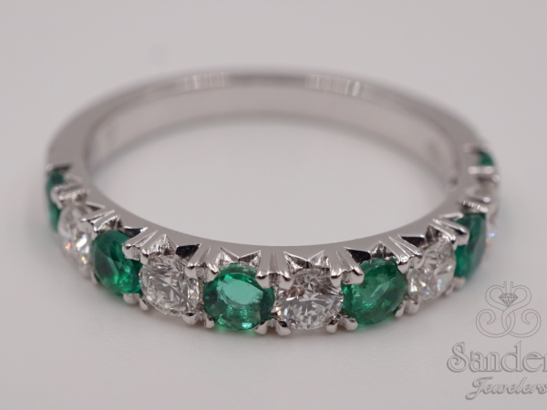 Rings - Emerald and Diamond Band