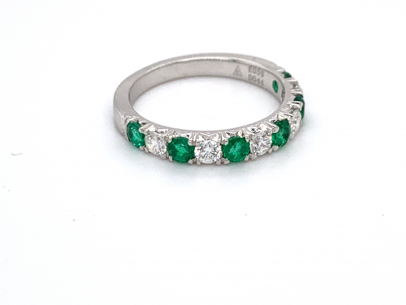 Rings - Emerald and Diamond Band - image #2