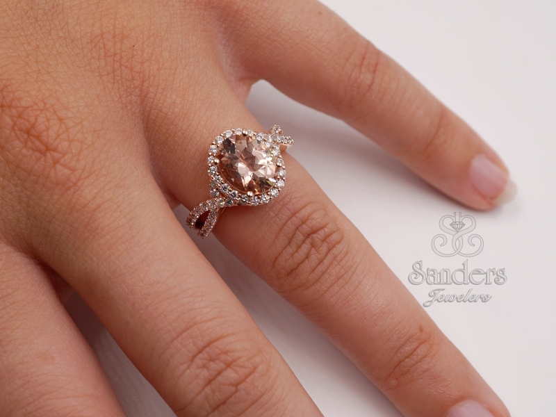 Rings - Morganite and Diamond Ring - image #3