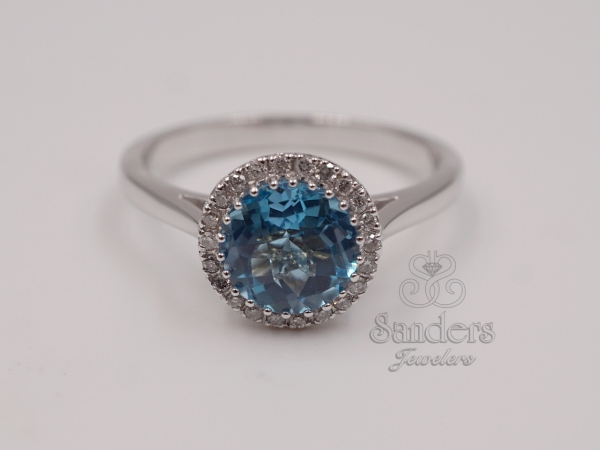 Rings - Blue Topaz Diamond Ring