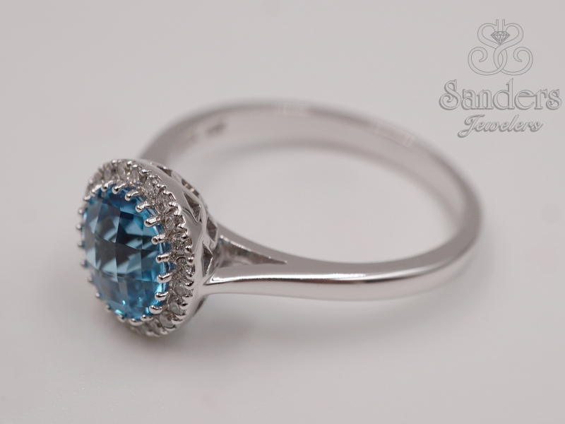 Rings - Blue Topaz Diamond Ring - image #2