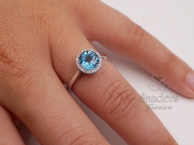 Rings - Blue Topaz Diamond Ring - image 3