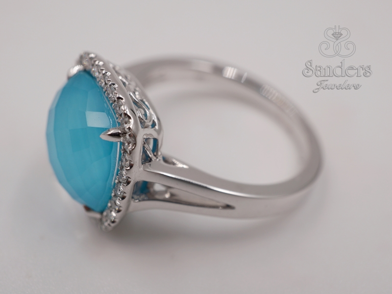Rings - Turquoise and Diamond Fashion Ring - image #2