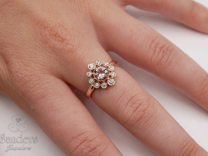 Rings - Morganite and Diamond Fashion Ring - image #3