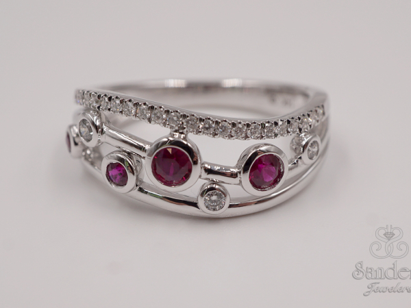 Rings - Contemporary Ruby and Diamond Fashion Band