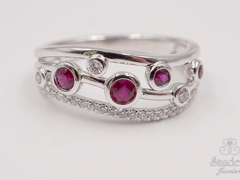 Rings - Contemporary Ruby and Diamond Fashion Band - image #2