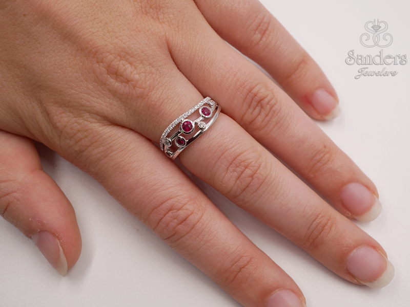 Rings - Contemporary Ruby and Diamond Fashion Band - image #3