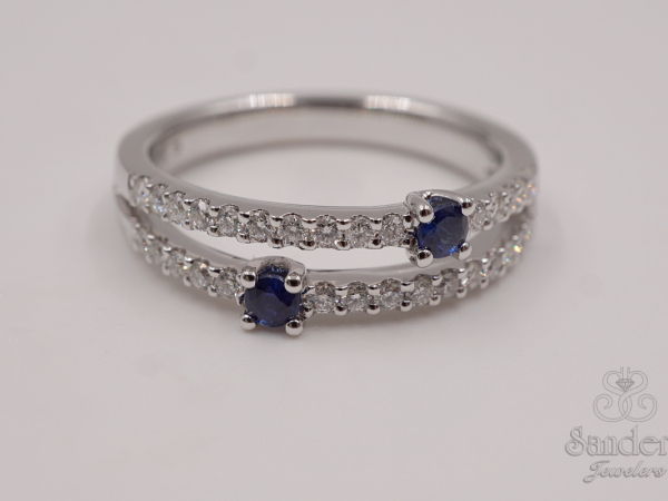 Rings - Contemporary Sapphire and Diamond Ring