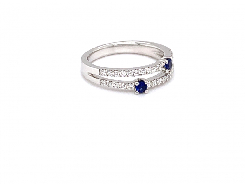 Rings - Contemporary Sapphire and Diamond Ring - image #2