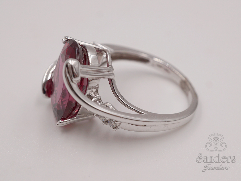 Rings - Rubellite and Diamond Fashion Ring - image #2