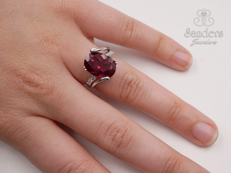 Rings - Rubellite and Diamond Fashion Ring - image #3