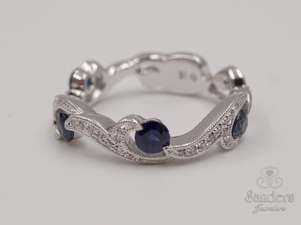Rings - Sapphire and Diamond Fashion Band