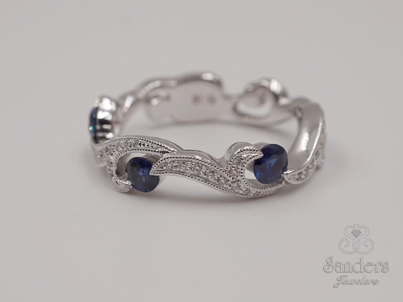 Rings - Sapphire and Diamond Fashion Band - image #5