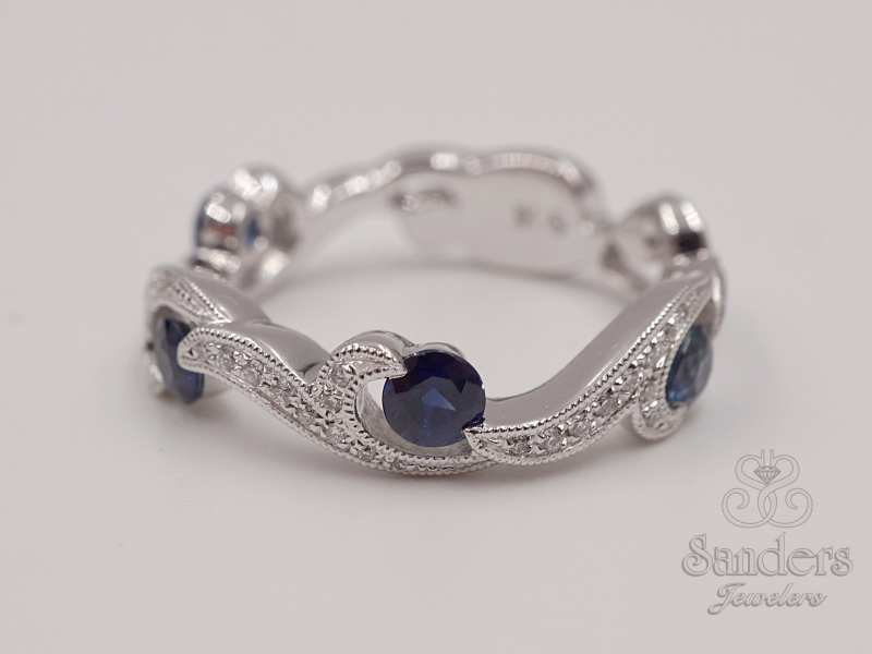 Rings - Sapphire and Diamond Fashion Band - image #2
