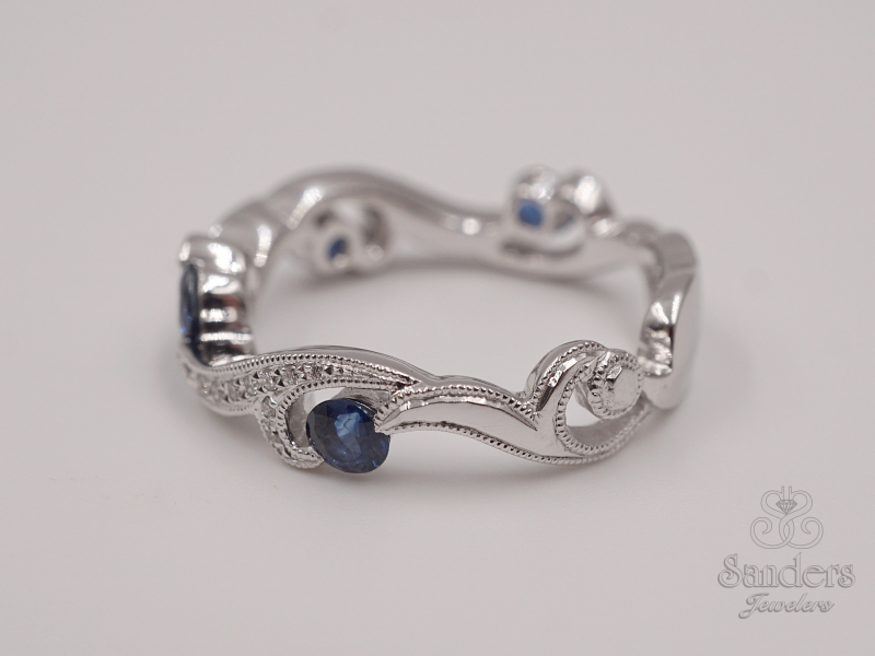 Rings - Sapphire and Diamond Fashion Band - image #3
