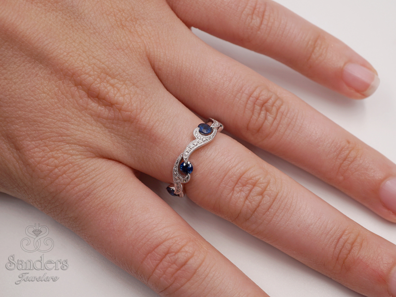 Rings - Sapphire and Diamond Fashion Band - image #4