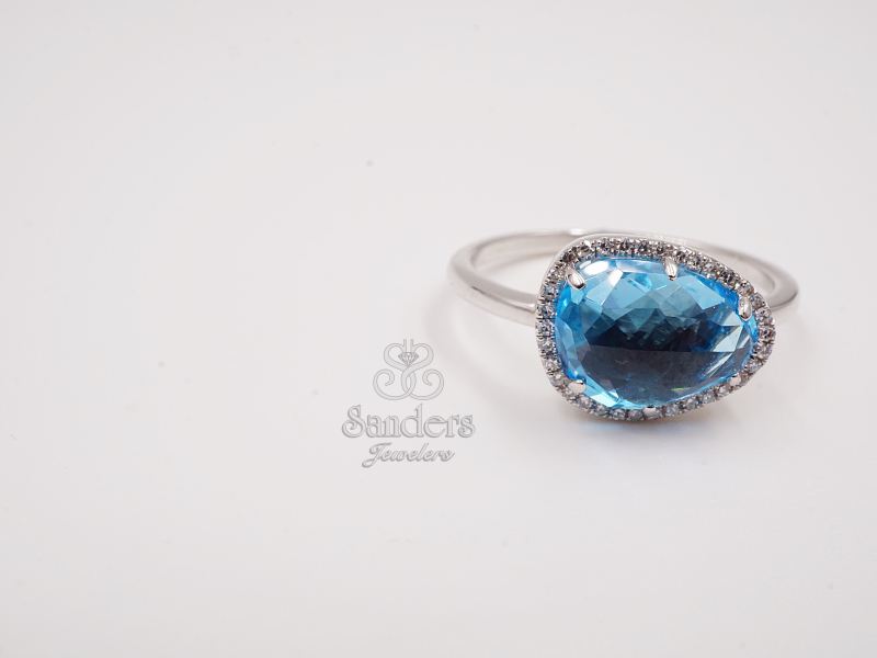 Rings - Blue Topaz and Diamond Ring - image #2