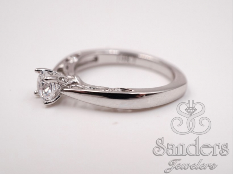 Bridal Jewelry - Filigree Diamond Engagement Ring - image #2