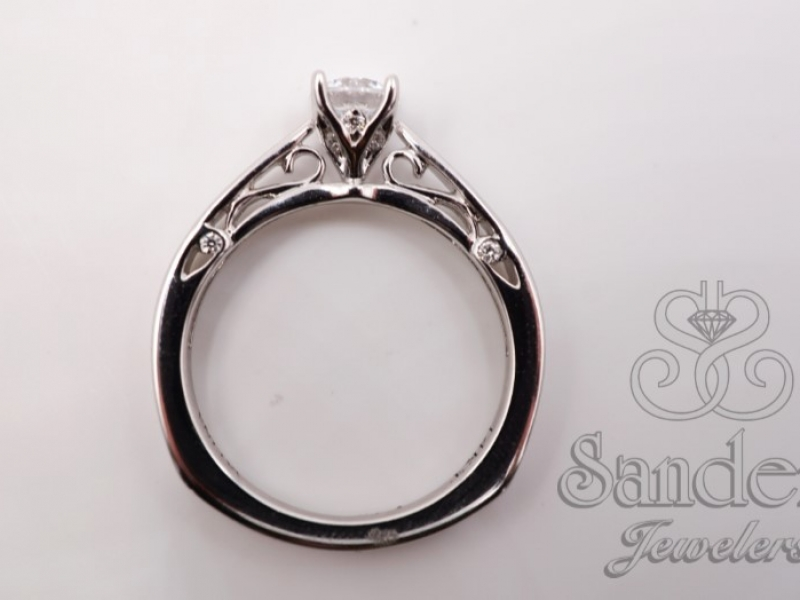 Bridal Jewelry - Filigree Diamond Engagement Ring - image #3