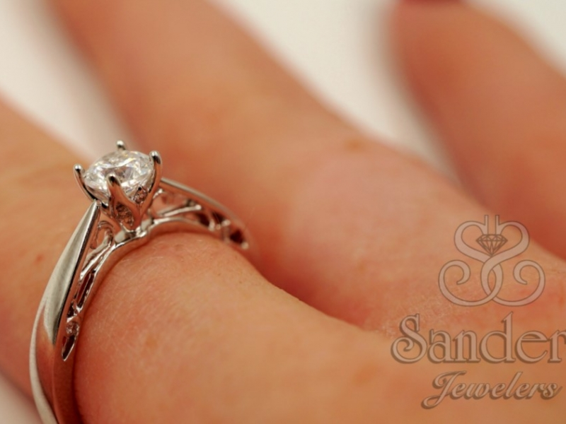 Bridal Jewelry - Filigree Diamond Engagement Ring - image #4