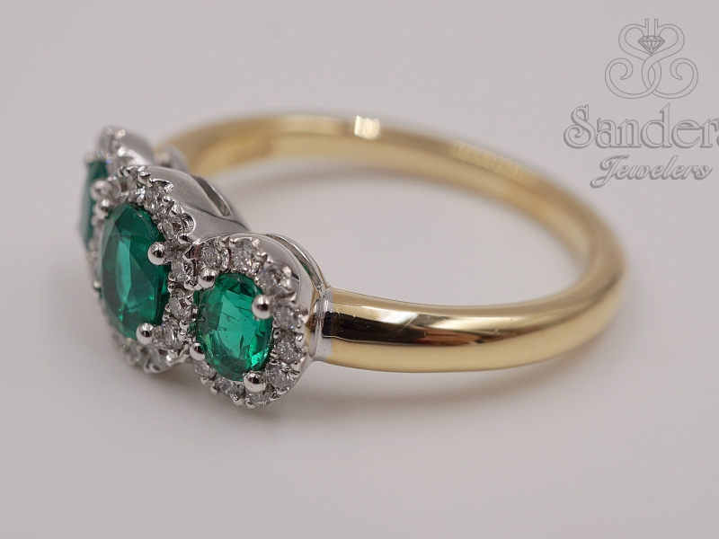 Rings - Three Stone Emerald Ring - image #2