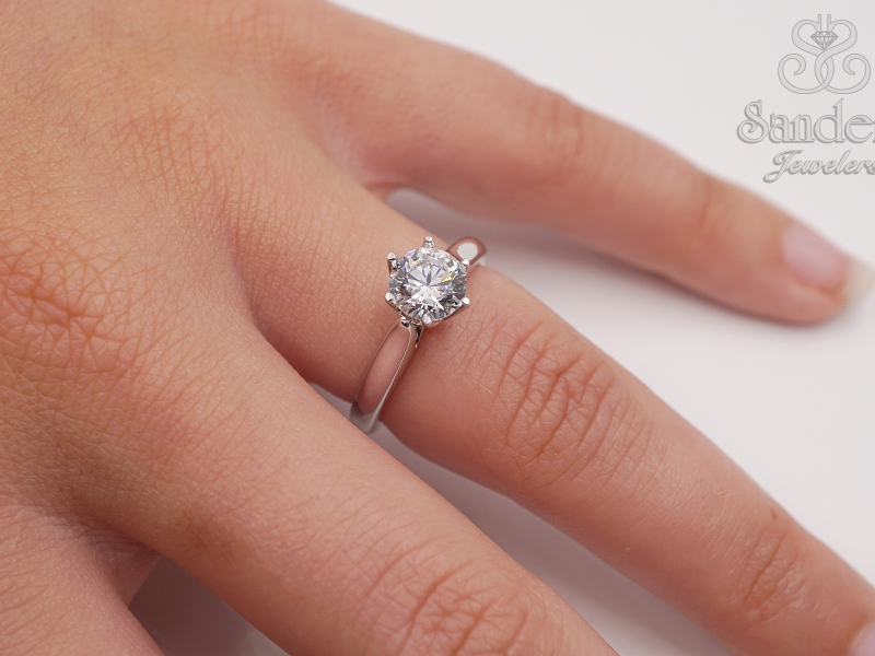 Bridal Jewelry - Crown Style Solitaire Engagement Ring - image #3