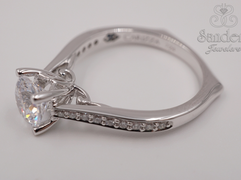Bridal Jewelry - Diamond Accented Engagement Ring - image #2
