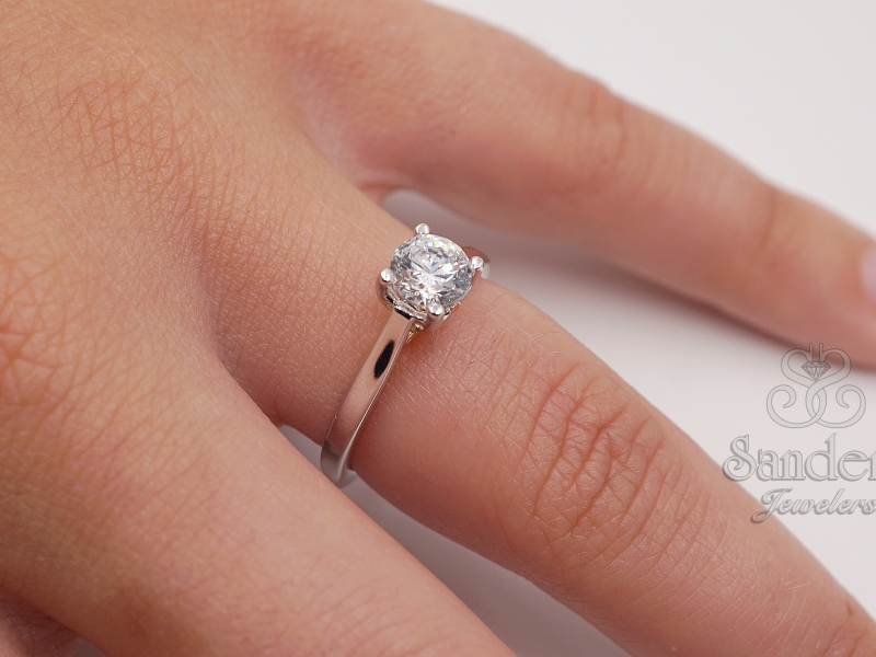 Bridal Jewelry - Two-Tone Solitaire Engagement Ring - image #3