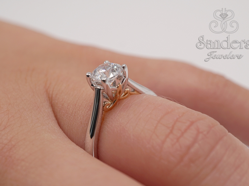 Bridal Jewelry - Two-Tone Solitaire Engagement Ring - image #4