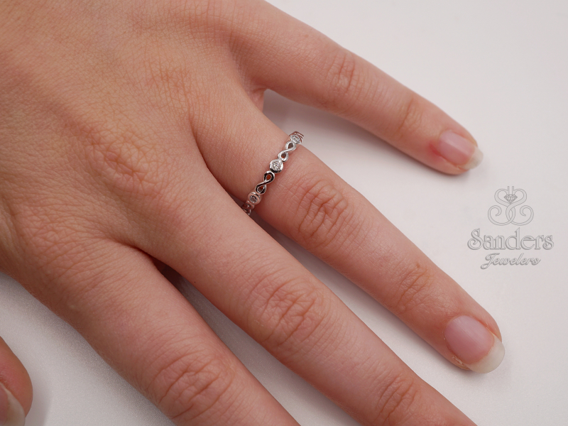 Rings - Diamond Infinity Stacker Ring - image #3