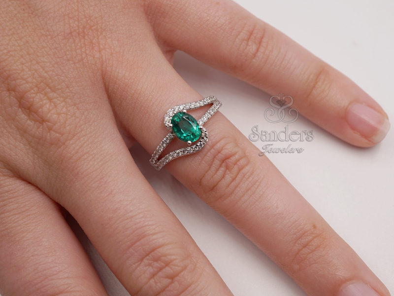 Rings - Emerald and Diamond Ring - image #3