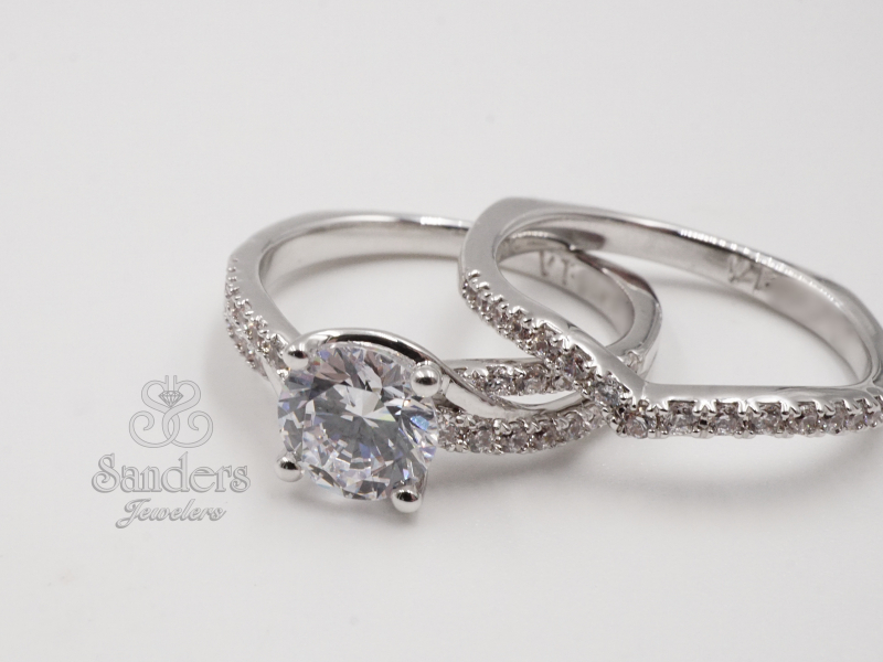 Bridal Jewelry - Notched Diamond Wedding Band - image #2