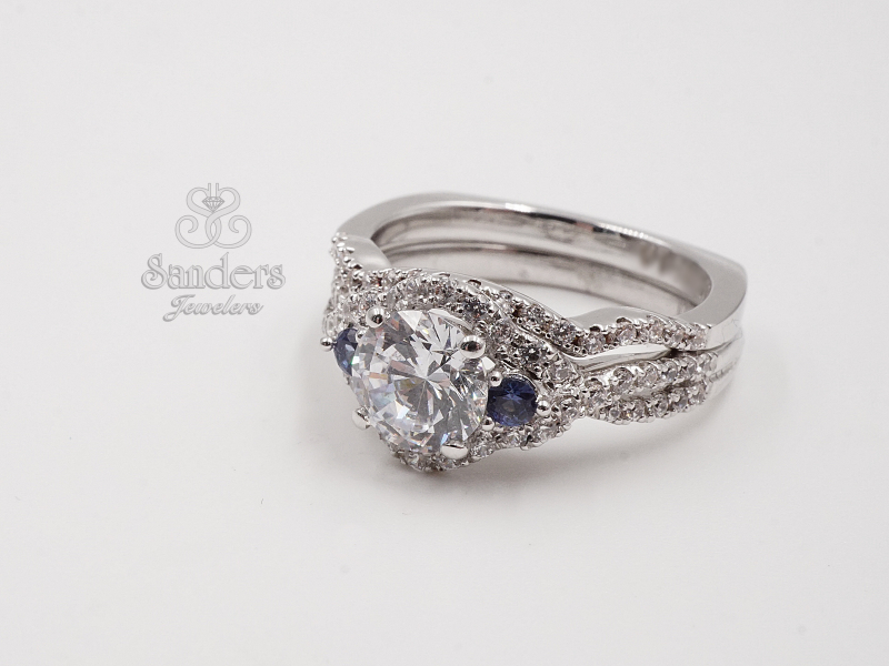 Bridal Jewelry - 3 Stone Diamond and Sapphire Halo Engagement Ring - image 3