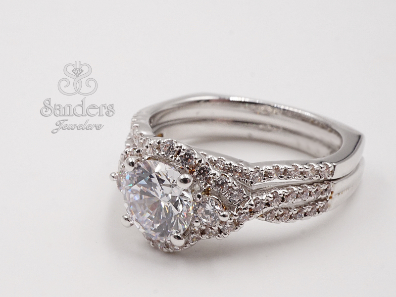 Bridal Jewelry - 3 Stone Halo Engagement Ring - image #2