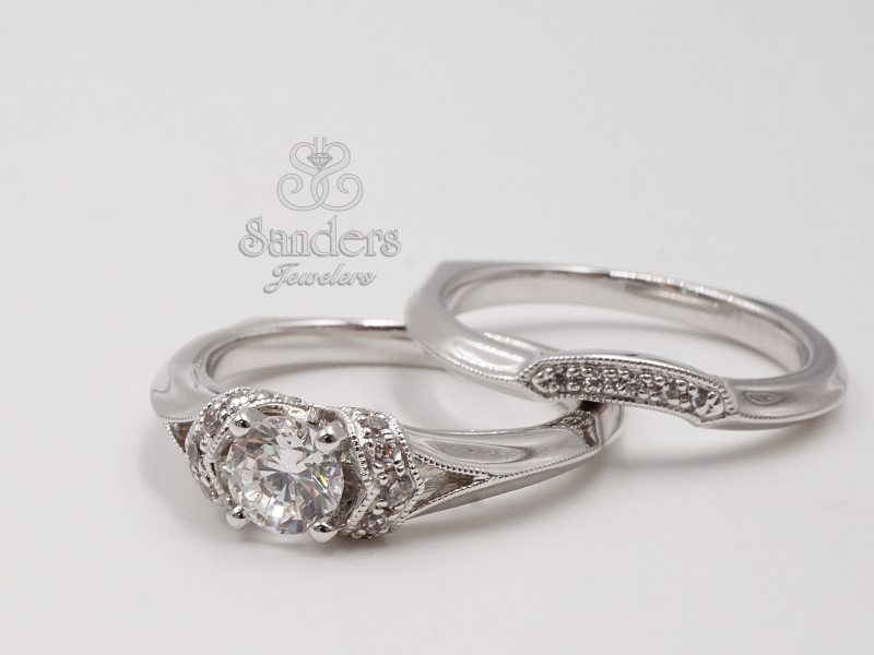 Bridal Jewelry - Contoured Diamond Wedding Band - image #2