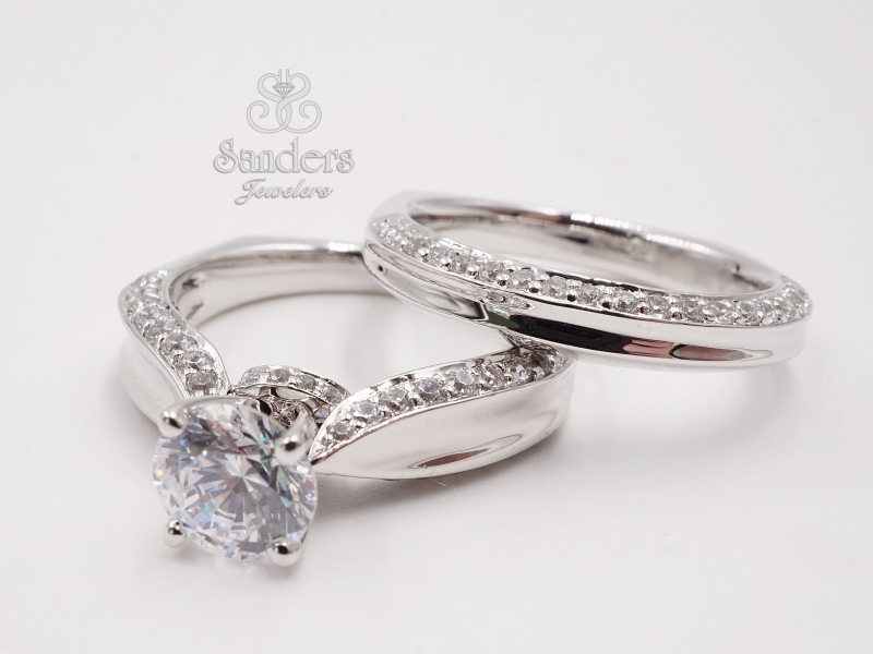 Bridal Jewelry - Unique Diamond Wedding Band - image #2