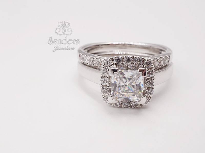 Bridal Jewelry - Princess Cut with Cushion Halo Engagement Ring - image #2
