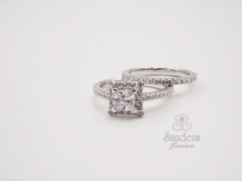 Bridal Jewelry - Square Halo Engagement Ring - image #2