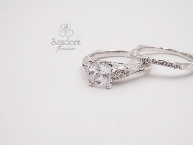 Bridal Jewelry - Princess Cut Engraved Diamond Engagement Ring - image 2